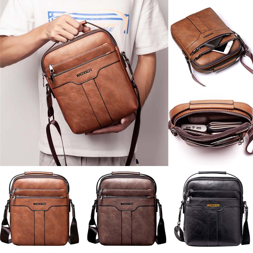 Man Bag Handbags Crossbody-Bags Retro Zipper Vintage Men -55 Schoudertas title=