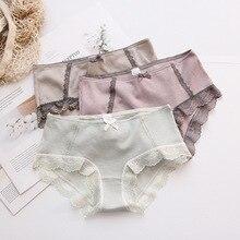 Roseheart Autumn New Women Fashion Purple Cotton Bow Mid Waist Panties Underwear Lingerie Briefs 3 Piece Color Plus Size