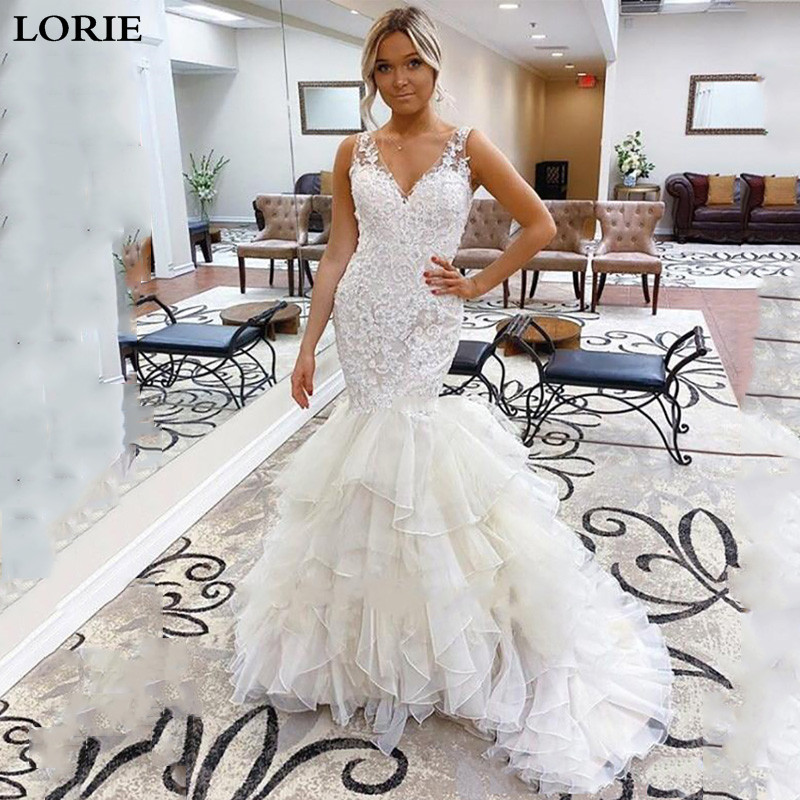 LORIE Mermaid Wedding Dresses 2019 V Neck Lace Appliques Bride Gowns Robe De Mariee Wedding Gown With Romantic Buttons Back