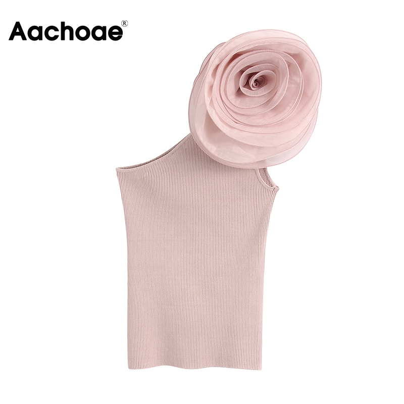 Aachoae Solid Floral Decorate Chic Blouse Women Summer Off Shoulder Knitted Shirt Female Pink Bodycon Slim Lady Top Blusas Mujer