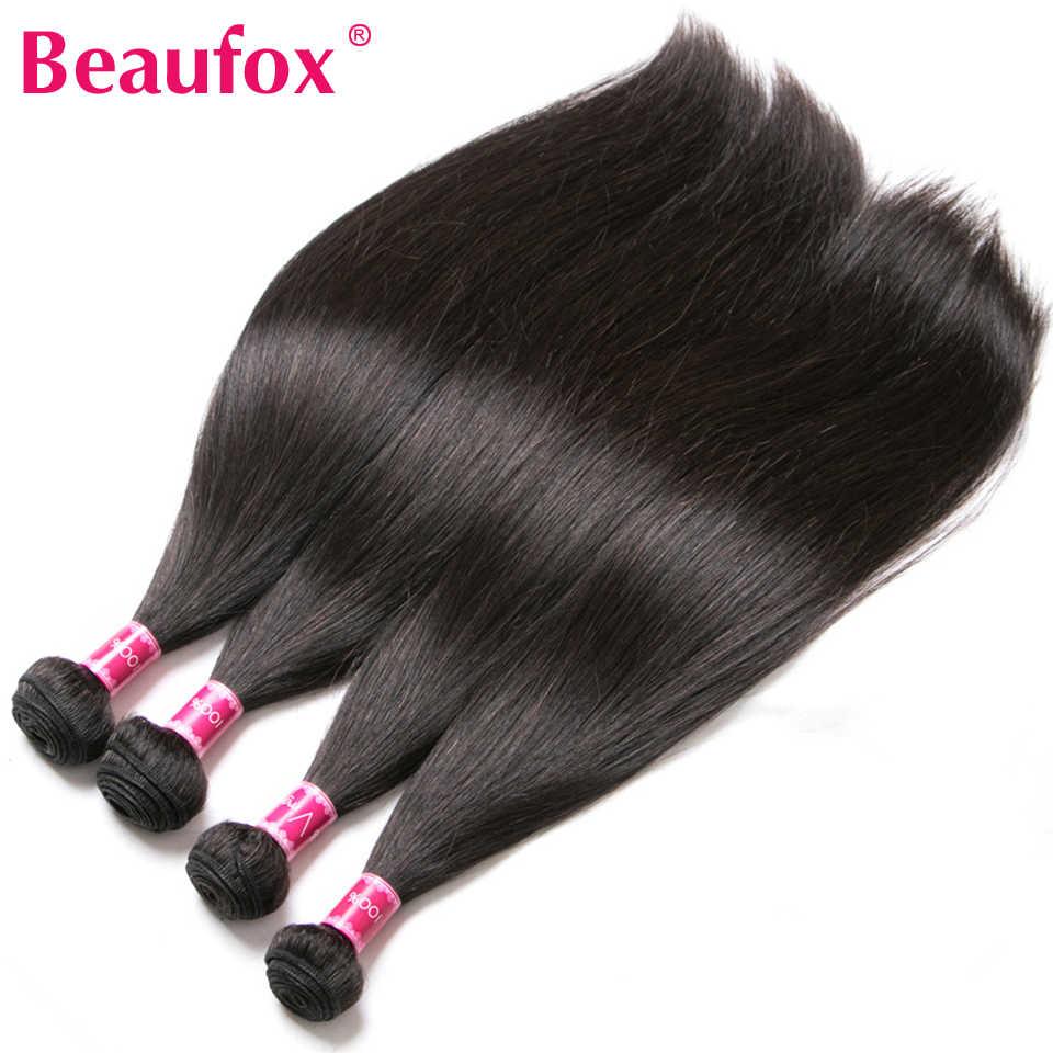 Beaufox extensiones de cabello humano con cierre, paquetes de cabello liso brasileño con cierre, cabello Remy 3 paquetes con cierre