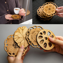 Lotus Shape Drink Coasters Mat Wooden Round Cup Table Mat Tea Coffee Mug Placemat Home Decoration Kitchen Accessories