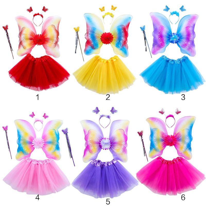 4Pcs Girls Fairy Costume Set Rainbow Butterfly Three Layers Tulle Tutu Skirt Wand Headband Princess Halloween Party 3-8T