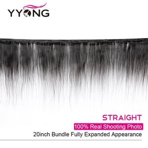 Image 2 - Yyong mechones de cabello lacio con cierre, pelo brasileño ondulado, 3 mechones, extensiones de cabello humano mechones Remy con cierre, extensión de cabello