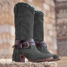 2019 New Fashion Autumn Winter Women Boots Denim Women Round Toe Cowboy Style High Heels Shoes Knee High Boots Women Shoes цены онлайн