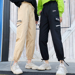 Image 2 - パンツ女性高品質貨物足首までの長ズボンソフト原宿韓国スタイルレディーストレンディソリッドポケットカジュアルすべてマッチ新しい