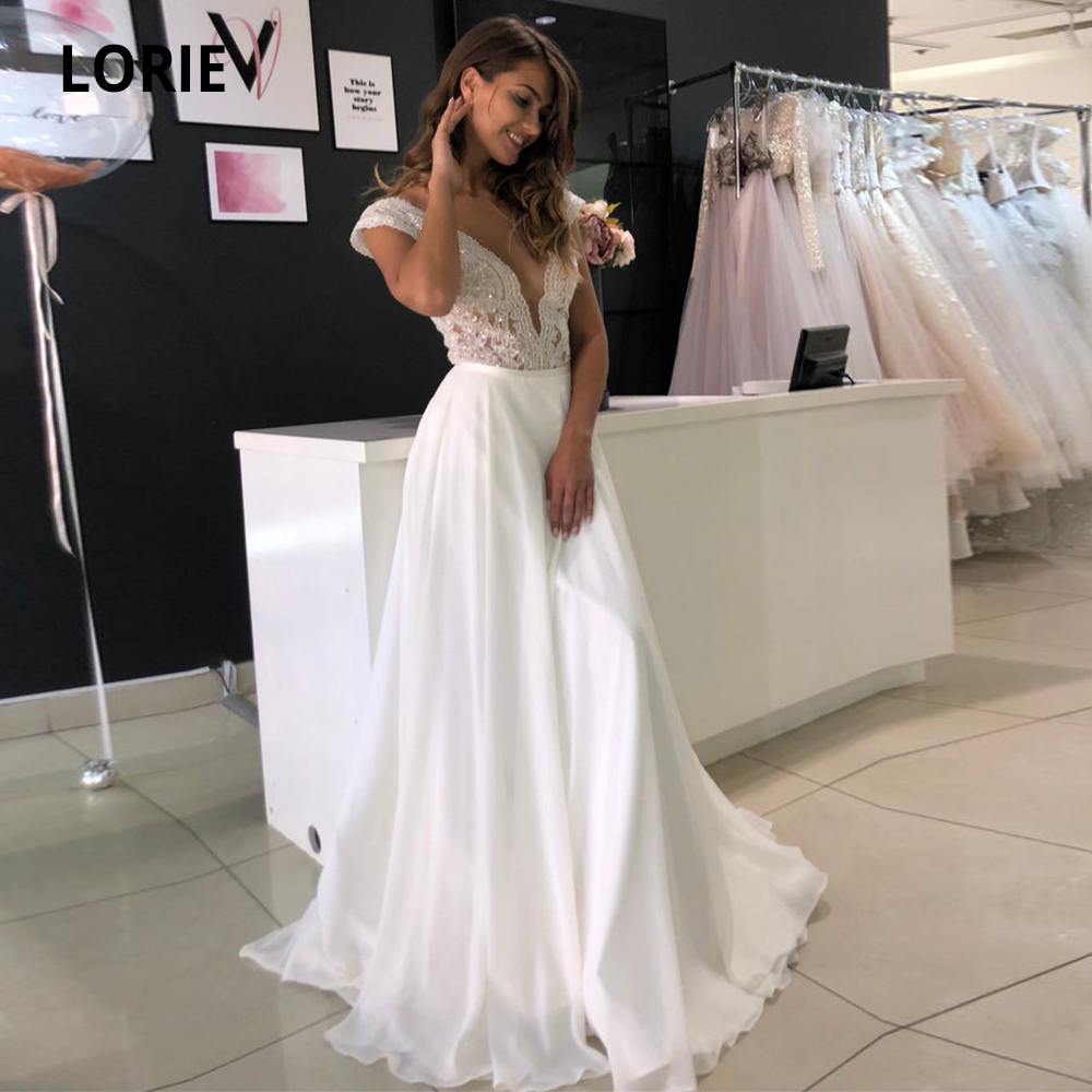 LORIE A-line Wedding Dresses Boho 2019 Cap Sleeve Lace Bridal Gowns Chiffon Beach Wedding Gown V-neck Pears Button Party Dress