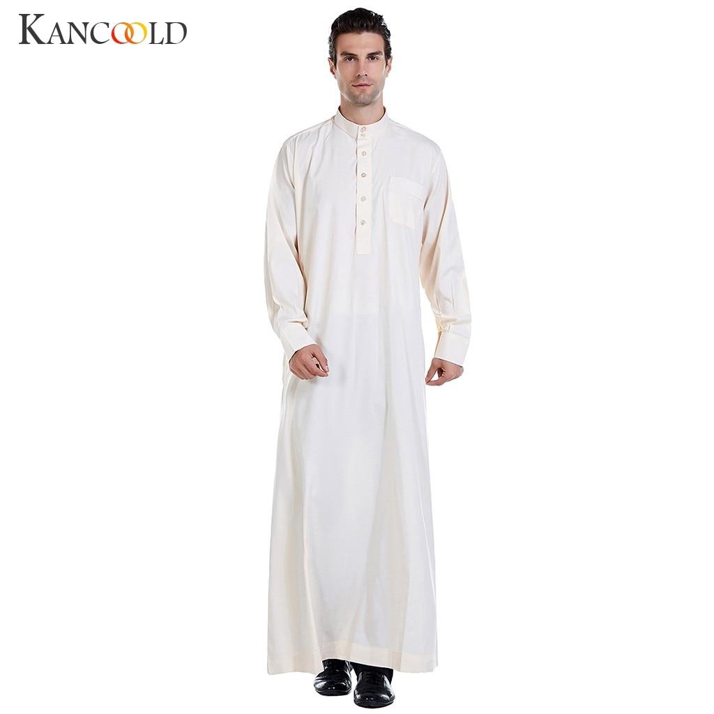 KANCOOLD Muslim Dress Kaftan Dubai Musulman Long Sleeves White Thobes Islamic Homme Clothing Summer Islamic Clothing Men Robes