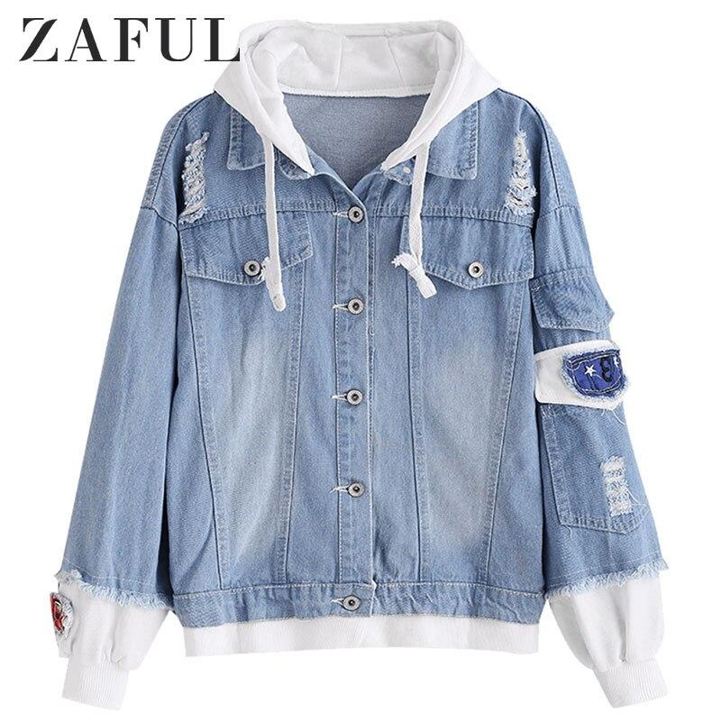 ZAFUL Distressed Hooded Denim Jacket Jeans Women L