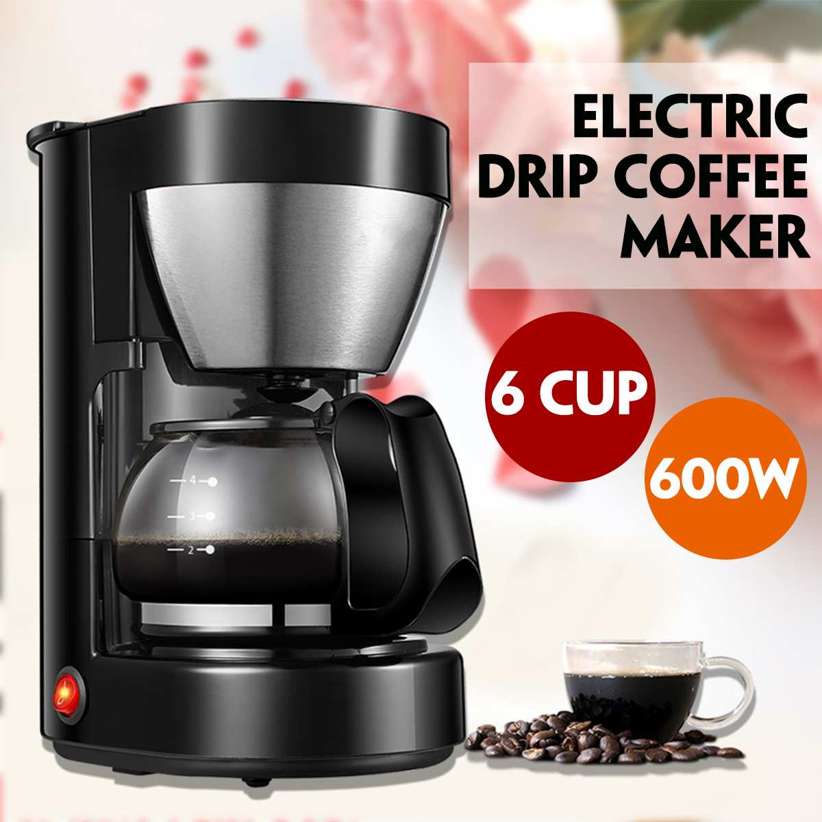 0.65L Electric Drip Coffee Maker Household Coffee Machine 6 Cup Tea Coffee Pot 220V Automatic Coffe Maker Cafetera