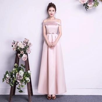 2020 New Boat Neck Pink Long Short Satin Bridesmaid Dresses Wedding Party Dress Prom Wedding Guest Gown  vestido de noiva plus
