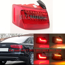 MIZIAUTO Rea tail light Outer side For Audi A6 C7 2012 2013 2014 2015 2016 Warning Light Brake Rear Bumper Tail Stop
