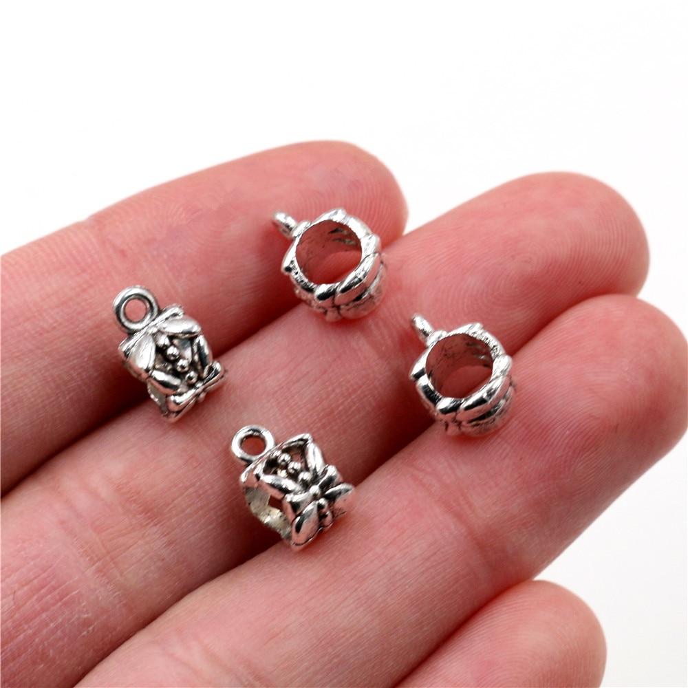 20pcs 11x6mm Hole Size 5mm Beads Bails Pendants Jewelry Making DIY Necklace Antique Silver Color Bails Pendant Charm Beads Bails
