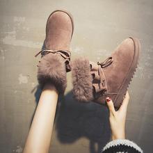Ciepłe buty zimowe damskie śniegowe buty zimowe buty botki damskie buty damskie futrzane buty damskie zimowe Botas Mujer Invierno tanie tanio AGUTZM Nubuk ANKLE Platforma Stałe Mieszkanie z Buty śniegu Pluszowe Futro Okrągły nosek Zima RUBBER Mieszkanie (≤1cm)