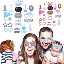 Shower-Decoration-Supplies Photobooth-Props Girl Baby One-First-Birthday Blue 1st Pink