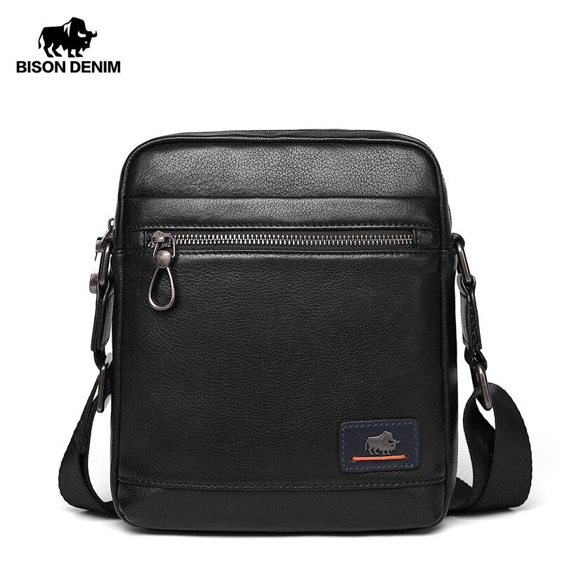 BISON DENIM Genuine Leather Business Crossbody Bag IPad Mens Messenger Bag Classic Black Male Bag Bolsas Male N20027