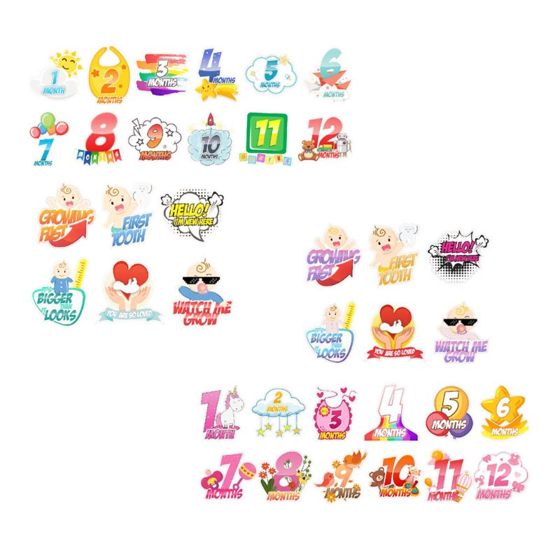 12 Pcs Set Newborn Baby Monthly Stickers Pregnant Monthly Milestone Stickers Photography Props
