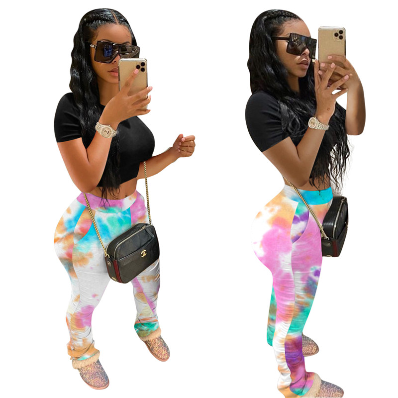 2020 Women's Tie-Dyed Printed Trousers Pleat Lift Hips Slim Fit Breathable Moisture Wicking Pants Tie Dyed Pants