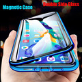 Fall prevention Metal magnetic adsorption, double-sided glass cover, Samsung Galaxy S20 S8 S9 S10Plus S20 Ultra S7 Edge Plus A81