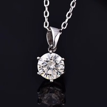 Natural Moissanite D Color Female Pendant 0.5ct-2ct Necklace Women Clavicle Chain Pure S925 Silver Pendant Necklace Fine Jewelry