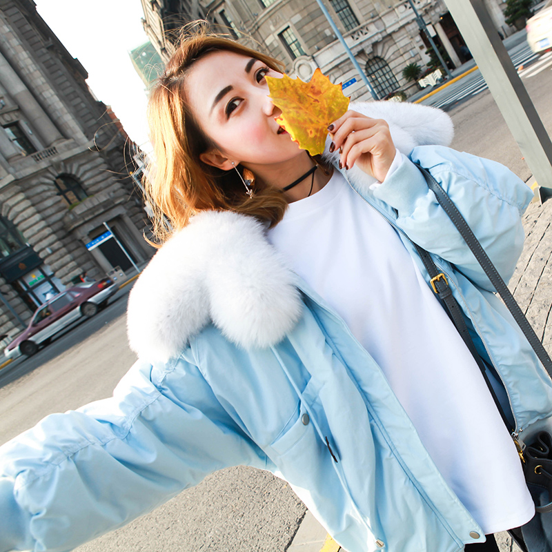 Large fox fur collar fashion white duck   down   jackets women loose fit oversize   down     coats   outerwear 2019 autumn winter