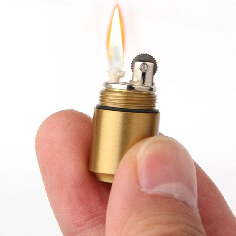 Mini Compact Kerosene Lighter Capsule Kerosene Inflated Key Chain Lighter Grinding Wheel Lighter Outdoor Tools