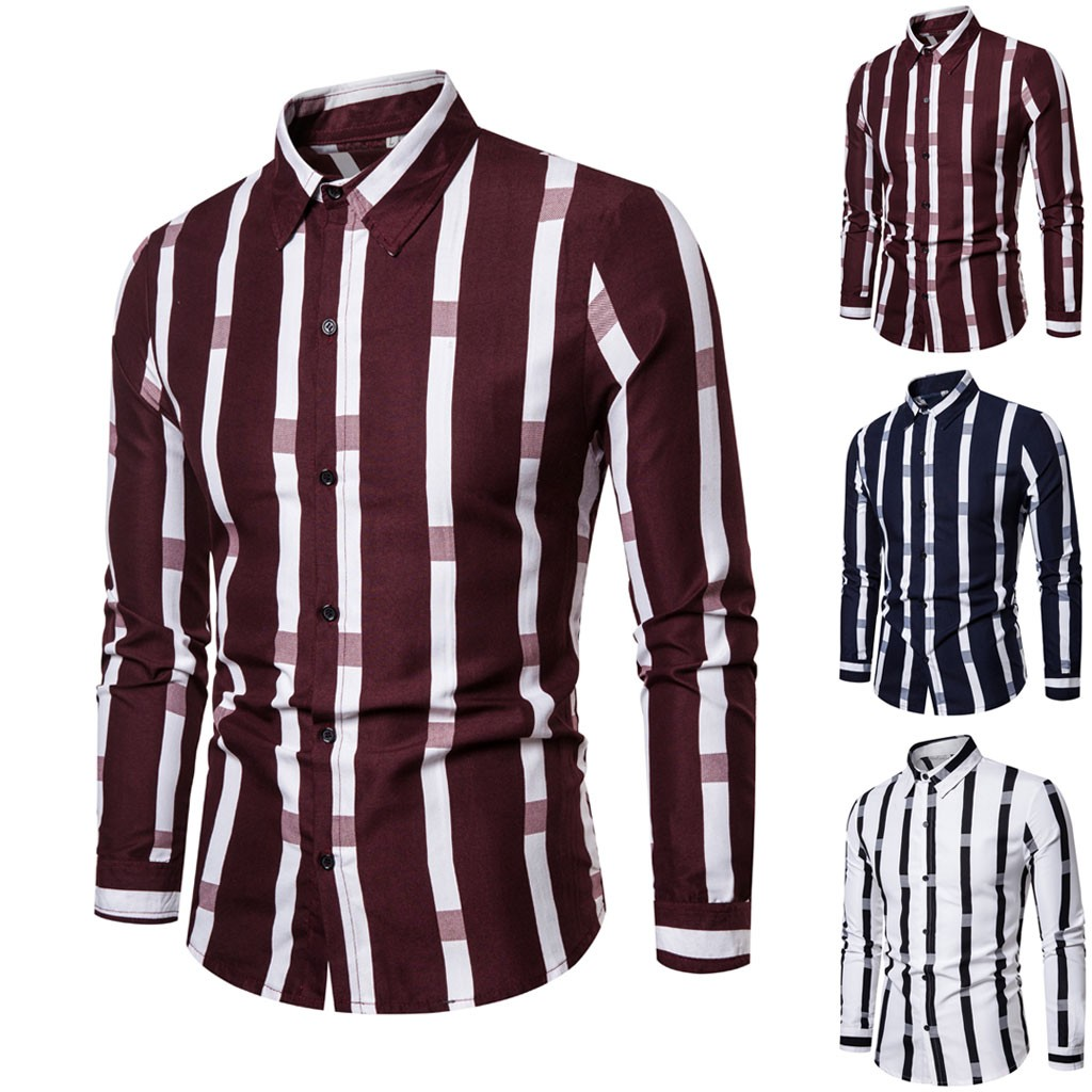 Men Splicing Striped Business Leisure Retro Long Sleeve Shirt Top Blouse Hawaiian Camisa Masculina Plus Size Camisas Hombre