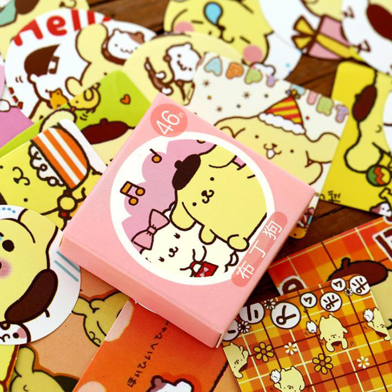 46 Pcs/pack Cartoon Mini Animal Purin Dog Decorative Stickers Scrapbooking DIY Diary Album Sticker Label Stationery Kids Gift