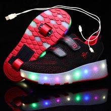 USB ładowanie dzieci Roller Skate obuwie chłopcy dziewczyna automatyczne Jazzy z podświetleniem LED migające dzieci świecące tenisówki z kółkami