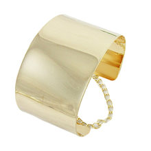 Fashion Jewelry Exaggerated Wide Face Punk Wide Flat Silver Bracelet Women Mirror Cuff Retro Big Gold Bangles(China)