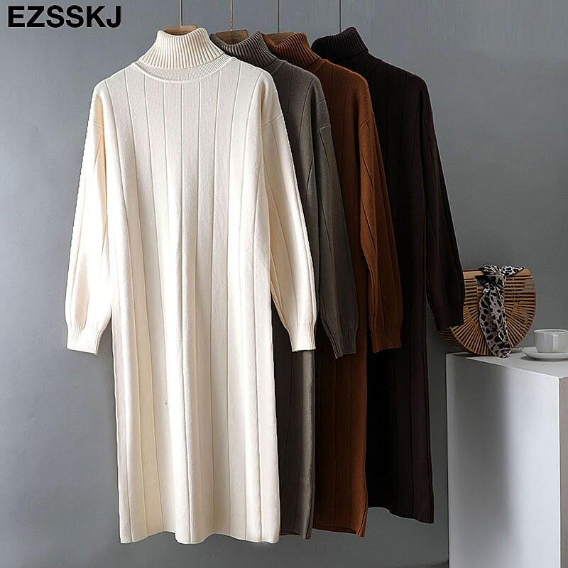 2021 Autumn Winter long thick Sweater Dress Women turtleneck long Sleeve straight maix Dress female girl warm long dress 3