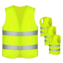 Защитные жилеты, 4 шт. жилет безопасности для автомобильных шин неоновый желтый жилет с 360 градусов светоотражающими полосами и застежкой моющийся Acc