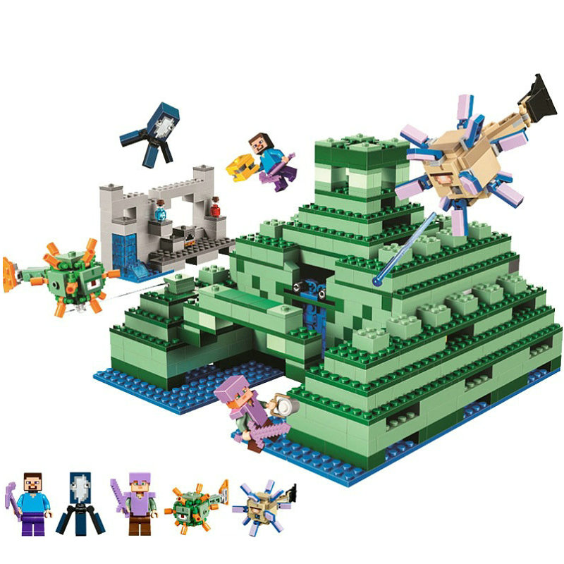 The Ocean Monument Building Blocks With Steve Action Figures Compatible LegoINGlys MinecraftINGlys Sets Toys For Children 21136 1