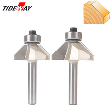 Tideway 1/4 Shank Chamfer Cutter Router Bits For Wood Horse Nose Bit 45 Deg CNC Woodworking Tools Two Flute Endmil huhao 1pc 1 2 shank cnc bit woodworking tools two flute router bits for wood cutting professional grade door router tool