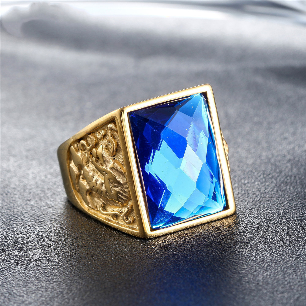 Big Gemstones Men Ring Aquamarine Blue Green Black Red Stone 18k Gold Antique Titanium Cool Dragon Jewelry Party Gift Size8,9-12