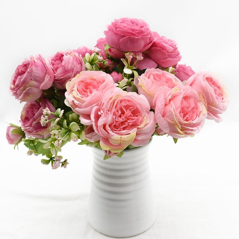 1 шт., искусственные пионы, 9 цветов