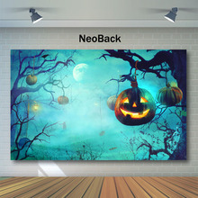 NeoBack Halloween Backdrop Forest Old Trees Pumpkin Light Moon Photography Background Kids Children Night Backdrops