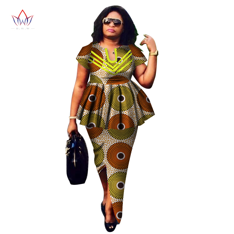 Women Suit African Dashiki For Women O-neck Skirt Set Bazin Riche African Fashion Clothing Cotton Traditional Clothing WY2592