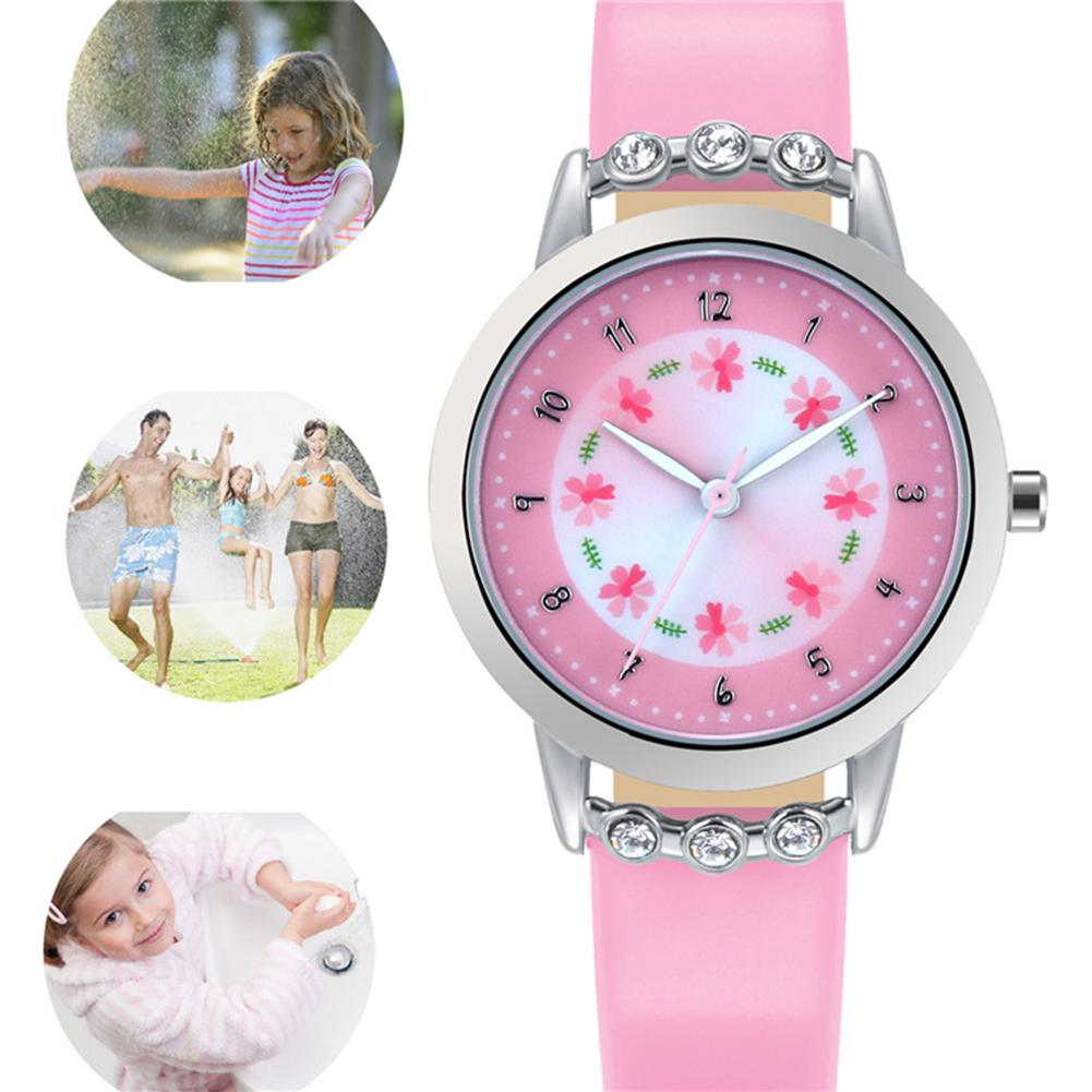 Kids Watches Fashion Cute Children\'S Watch Little Princess Diamond Flower Round Dial Faux Leather Strap Quartz Wrist Watch Gif
