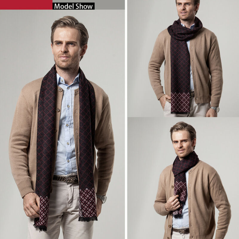 Luxury Men Business Scarf Pashmina Cashmere Warm Scarf Shawl Scarve Autumn Winter Men's Plaid Print Scarf Men Fashion Scarves