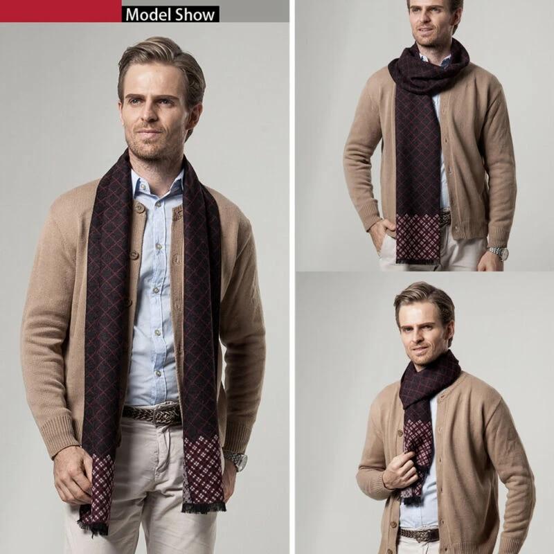 Luxury Men Business Scarf Pashmina Cashmere Warm Scarf Shawl Scarve Autumn  Winter Men's Plaid Print Scarf Men Fashion Scarves Men's Scarf Sets  -  AliExpress