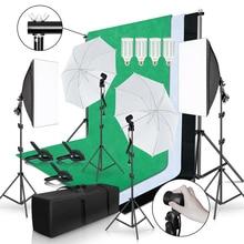 사진 스튜디오 조명 키트 2x3M 배경 프레임 3Pcs 배경 사진 빛 Softbox 반사 우산 삼각대 스탠드