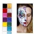 12 цветов, краска для лица/пигмент, краска для боди-арта, макияж для детей, безопасные масляные краски для хэллоуивечерние кисточками, макияж