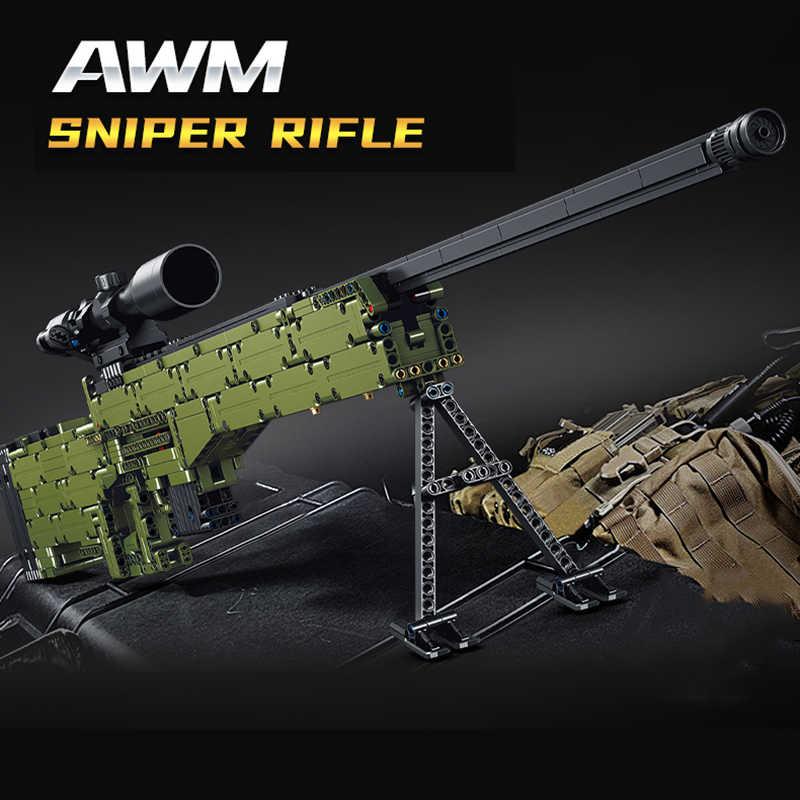 1315Pcs Ideen AWM Sniper Rifle Gun Bausteine Technik Können Feuer Kugeln Military Waffe Ziegel Spielzeug Geschenke Für Kinder kinder