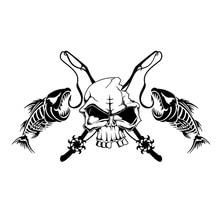 19.7*11.1CM Fishing Skull Skeleton Fish Rod Reel Hook Car Sticker Truck Window Vinyl Decal Sticker 3 sizes outdoor sports go fishing white perch car sticker window fish tank decal vinyl tape h8100