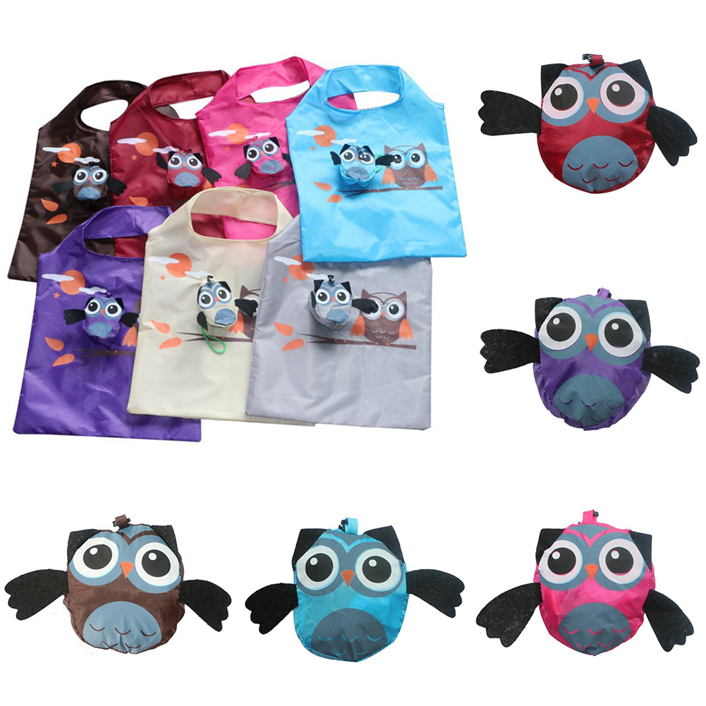 Cute Animal Owl Shape Folding Shopping Bag Ladies Gift Foldable Reusable Tote Handbag Portable Travel Storage Bag Grocery Bag