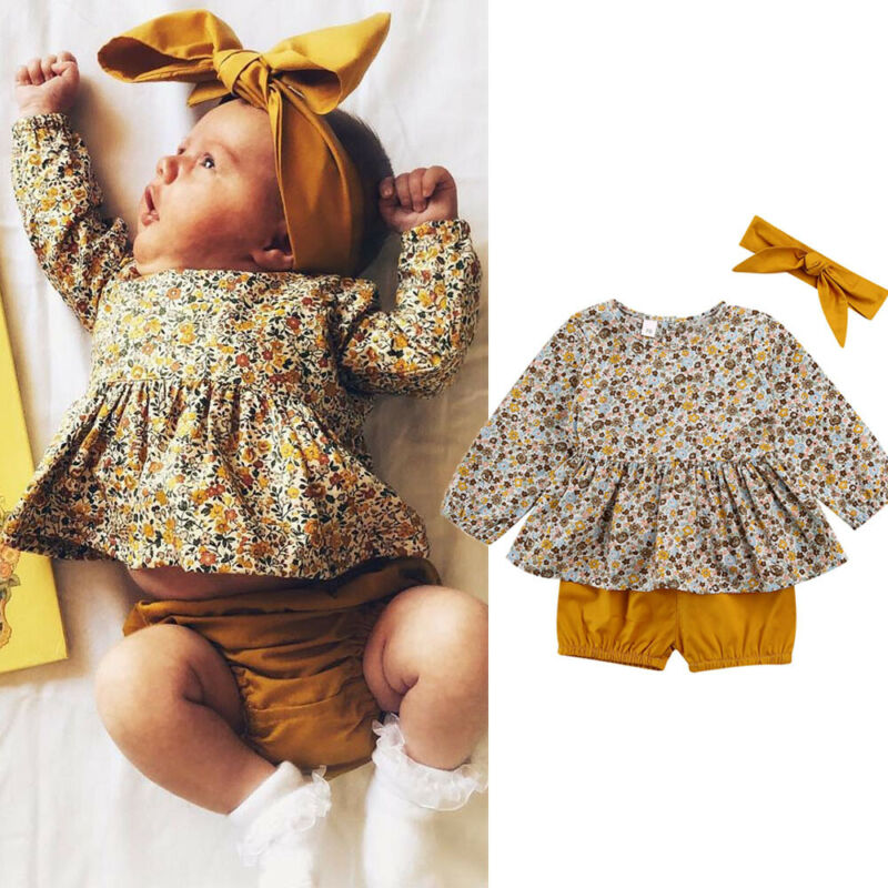 0-18 Months Newborn Infant Clothes Set Toddler Baby Girls Floral Tops Brown Short Pants Baby Girls Outfits Newborn Clothing