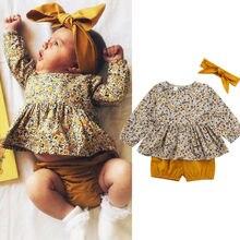 Juego de ropa infantil para recién nacidos de 0 a 18 meses, Tops florales para niñas pequeñas, pantalones cortos marrones, ropa para bebés y niñas