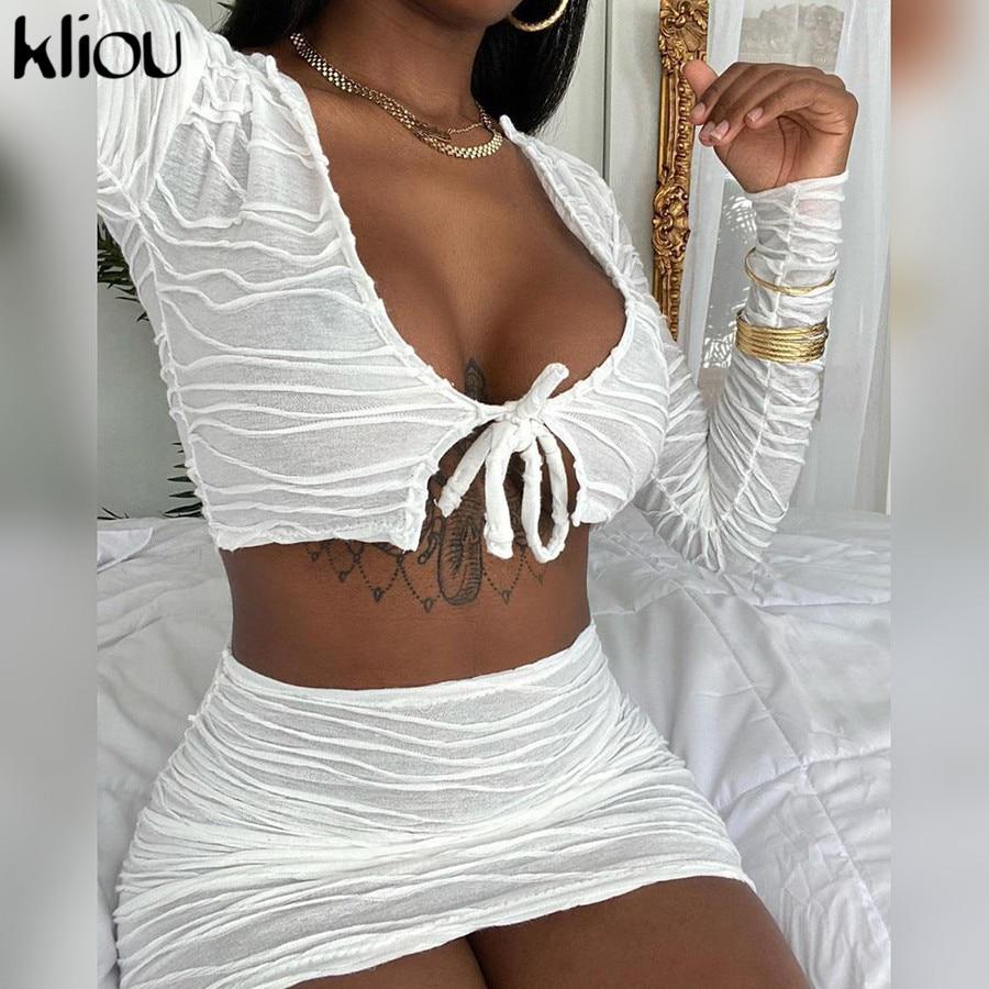 Kliou Frauen Sexy Passenden Sets V-ausschnitt Partei Clubwear 2 Stück Bodycon Outfits Langarm Striped Verband Crop Top Und rock Set