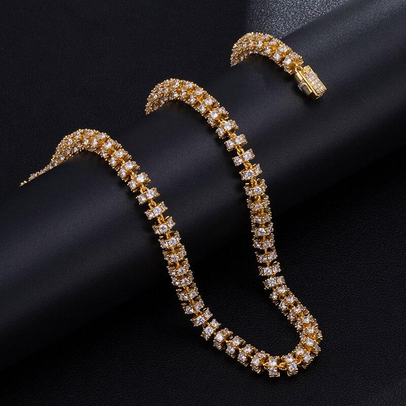 6MM ensemble Bling AAA CZ zircon cubique glacé rond lien chaîne collier Bracelet pour hommes femmes Hip Hop rappeur bijoux 18 ''-24'' - 3